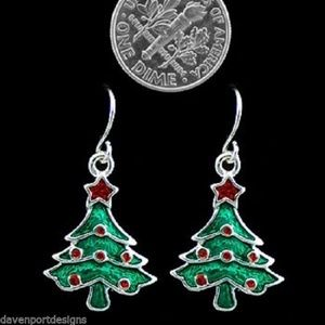 Jewelry - Christmas Tree Earrings Hand Painted New Holiday